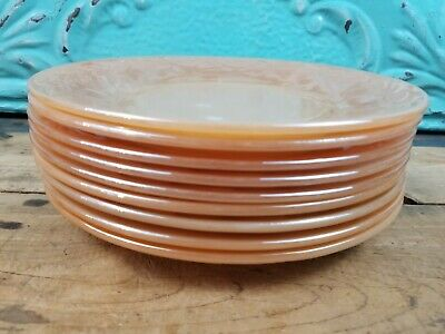 """Lot Of 9 Vintage Fire King Oven Ware Peach Lustre Plates 9"""" leaf"""