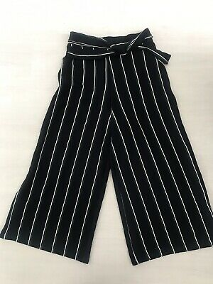 1537053e18 Ladies Pull & Bear Blue Green White Tie Waist Culottes Cropped Trousers  Size M