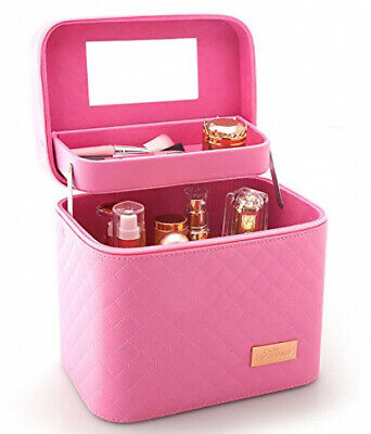 Sooyee Professional Makeup Train Case With Mirror - Cosmetic Studio Box To Fit