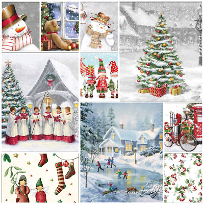50 Christmas Paper Napkins for Decoupage - Mixed Designs as shown