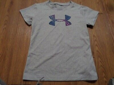 Bnwt-Girls Size 6  Under Armour Shirt -Gray