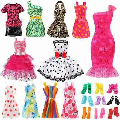 11 Pack Set Barbie Doll Clothes Party Gown Outfits Shoes Accessories Dolls Girls