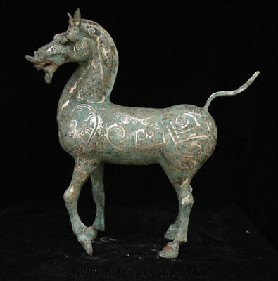 "17.2"" Rare Old Chinese Bronze Ware Silver Dynasty Palace Steed War Horse Statue"