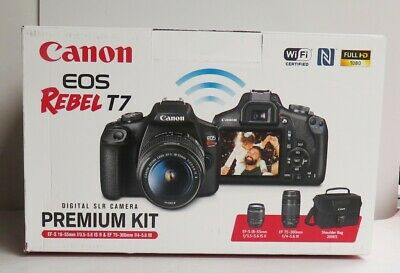 Canon EOS Rebel T7 24.1MP Digital Camera  Kit with 18-55mm & 75-300mm New Sealed