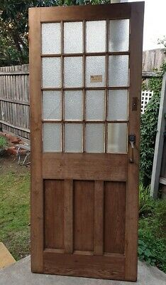 Antique Solid Timber and Glass Door with brass handle
