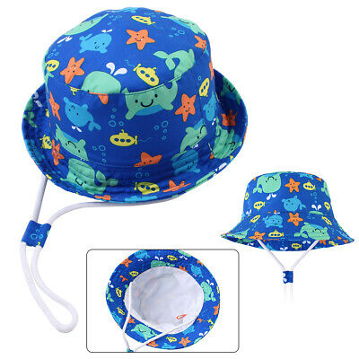 1X Toddler Kid Summer Beach Cartoon Whale Bucket Hat with Strap Cotton Sun Cap