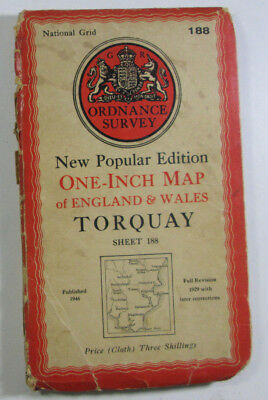 1946 Old OS Ordnance Survey One-inch New Popular Edition CLOTH Map 188 Torquay