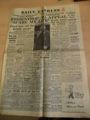 daily express OLD VINTAGE ORIG NEWSPAPER 2 oct 1946 1940S ww2 nuremberg war tria