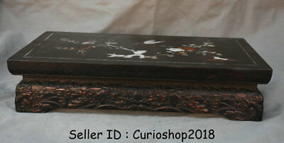 "16.4"" Old Chinese Redwood Inlay Shell Dynasty Birds Flower Table Desk Furniture"