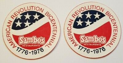 Sambo's Paper Coasters American Revolution Bicentennial Set of Two 1976