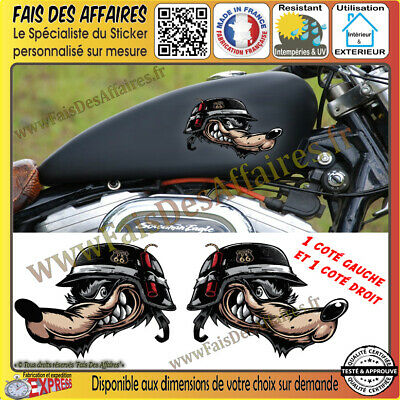 Stickers Autocollant loup biker harley bobber moto custom wolf decal route 66