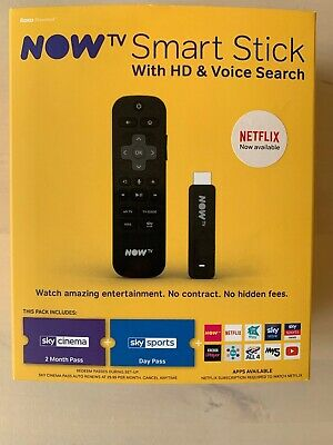 Now TV Smart Stick Full HD 1080p Voice Search With 2 Month Sky Cinema Pass.
