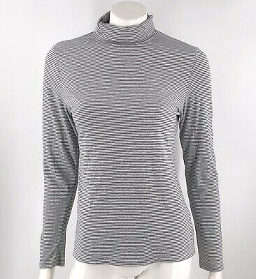 Sonoma Turtleneck Top Size Medium Gray Striped Fitted Shirt Long Sleeve Womens