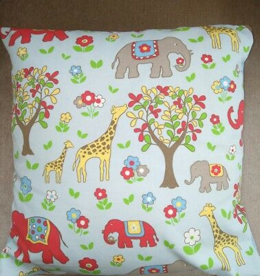 Handmade Cushion Cover in Cath Kidston Giraffe Elephan Cotton Fabric & Blue Spot