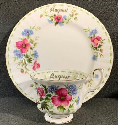 """Royal Albert Flowers Of The Month """"August"""" Poppy Salad Plate & Tea Cup"""