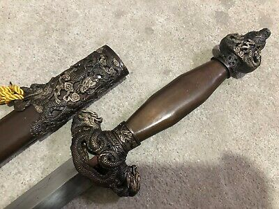 "Collectable Handmade Seven stars ""Dragon Jian"" Folded Steel blade Brass Sheath"