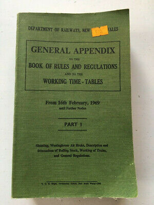 General Appendix to the Book of Rules and Regulations Railways NSW 1969