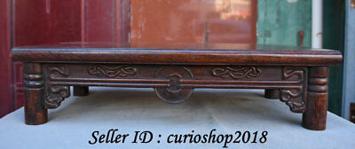 "19.2"" Old China Huanghuali Wood Dynasty Carving Pattern Study Desk Table Tables"