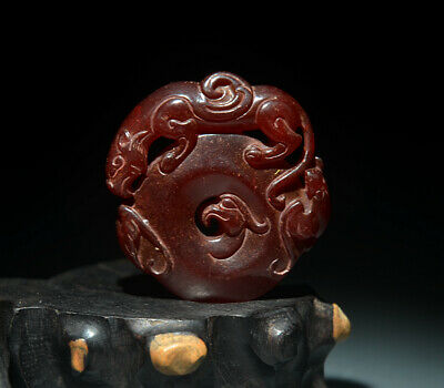 Fine Chinese Ancient Jade Hollow Carved Dragon And Phoenix Amulet Pendant