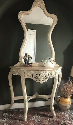 Vintage French Dressing Table / Console With Marble Top