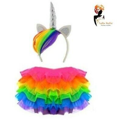 RAINBOW TUTU COSTUME Kids Girls Unicorn Dash Pony  Halloween Fancy Dress Skirt