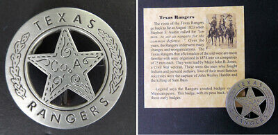 Texas Ranger Badge, Peso Back, Company A, Old West, Western