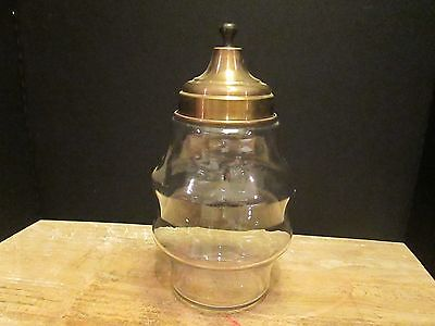 Vintage Apothecary Drugstore Candy Jar Ribbed Glass Clear Bronze Brass Lid Old