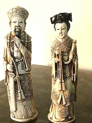 Vintage Hand Carved Polyresin Chinese Figurines,  Emperor and Empress