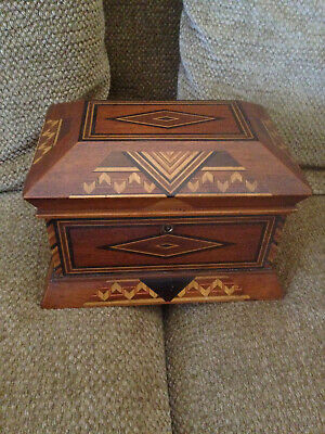 Outstanding Multi-Wood Antique Marquetry Inlaid Jewelry Box With Removable Tray.