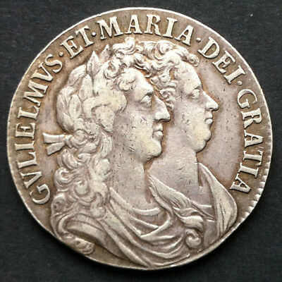 REDUCED -  1689 William and Mary 0.925 Silver Half crown GOOD VERY FINE