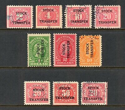1920-1928 Stock Transfer Stamps, Used, 10 Different, Mixed Cancels