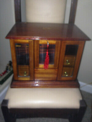 Exceptional Antique Mahogany Smokers Cabinet With Beveled Glass Doors C-1890