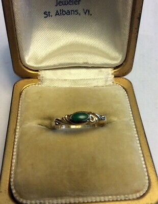 Vintage 14K Yellow GOLD MALACHITE YOUTH/BABY RING