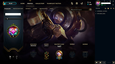 League of Legends Account / LOL / NA / Unranked / 42 Champs / 12 skins