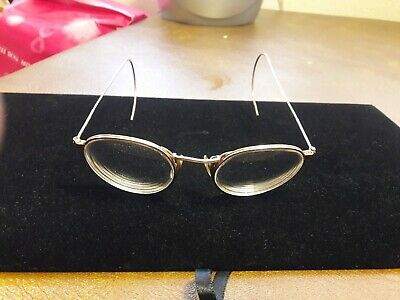 Antique AO American Optical 12k GF Round Wire Frame Eye Glasses Cable Temples