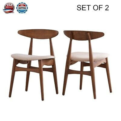 Set of 2 Modern Vintage Antique Dining Office Beige Fabric Accent Side Chairs