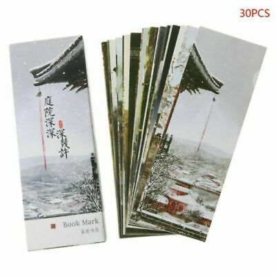 30pcs Deep Courtyard Chinese Style Paper Bookmarks Painting Cards Bookmark Boxed