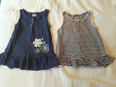 2 x Baby Girl's Summer Tops 18-24 months Navy blue flowers Stripy Set Tunic Top