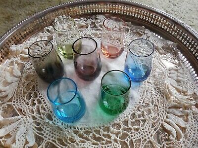 "Set of 7 Miniature Colored 2 oz  Cordials shot glasses ""shooters"""