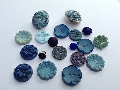 Assorted Mixed Job Lot Of Old/vintage Blue Buttons.