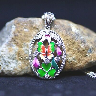 Flower Butterfly Enameled Sterling Silver 925 Pendant with Cubics , Cloisonné