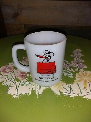 1965 USA Vintage Fire King SNOOPY RED BARON Mug Cup Curse You Anchor Hocking