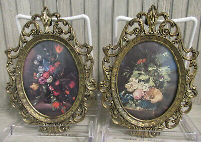 Vintage Small Ornate Oval Brass Picture Frames Made in ITALY  domed glass