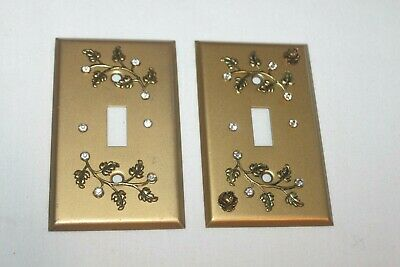 2 Vintage Ornate Metal Gold Cover Plates Single Light Switch Covers Rhinestones