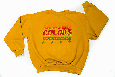 United Colors Of Benetton Rare Vintage 80s Sweatshirt Mustard Yellow XL Italy