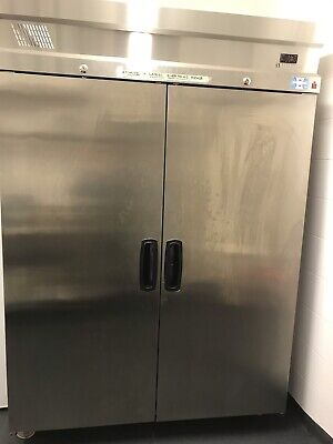 Large upright commercial freezer , double door stainless steel