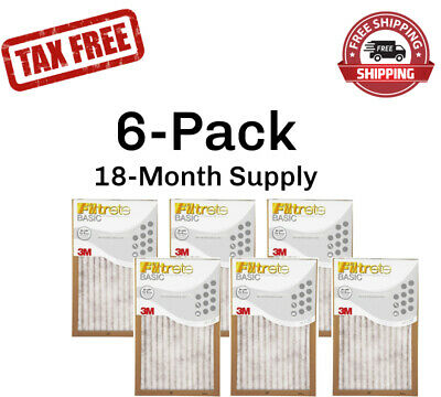 6-Pk (18 x 30 x 1) Filtrete-Basic 3M Air-Filter Replacement Pad Furnace Dust Lot