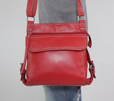 70b3d517a3e ili NEW YORK Medium Red Leather Crossbody Shoulder Hobo Tote Satchel Purse  Bag