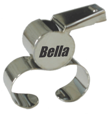 Silver Fingergrip Netball Whistle with name