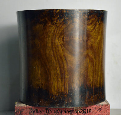"7.4"" Antique Old China Huanghuali Yellow Wood Hand Carved Brush Pot Pencil Vase"